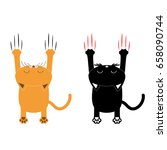 cartoon black and orange cat... | Shutterstock .eps vector #658090744