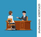 business executive talking with ...   Shutterstock .eps vector #658091620