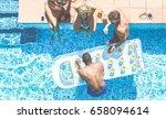 happy friends making party... | Shutterstock . vector #658094614