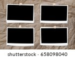 set of photo frame with tape ... | Shutterstock . vector #658098040