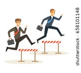 two businessmen racing over... | Shutterstock .eps vector #658101148
