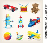 Stock vector set of colorful retro toys for children isolated vector illustrations for cards books or posters 658106149
