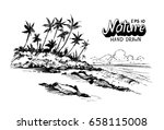tropical beach with palm trees... | Shutterstock .eps vector #658115008