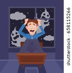 frightened scary screaming man...   Shutterstock .eps vector #658115266