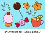dessert set | Shutterstock .eps vector #658115560