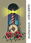 vector lighthouse with roses... | Shutterstock .eps vector #658118890