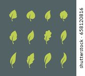 leaf icons set isolated on dark ... | Shutterstock .eps vector #658120816