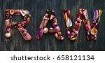 healthy alphabet fruit and... | Shutterstock . vector #658121134