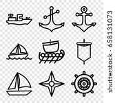 nautical icons set. set of 9... | Shutterstock .eps vector #658131073