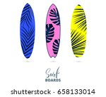 surfboards. colorful surfing... | Shutterstock .eps vector #658133014
