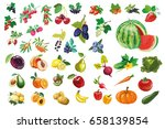 big collection of fruits ... | Shutterstock .eps vector #658139854