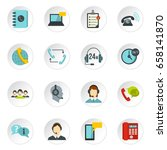 call center symbols set icons... | Shutterstock .eps vector #658141870