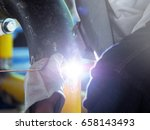 welding work  worker with... | Shutterstock . vector #658143493