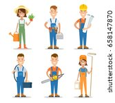 flat building team vector... | Shutterstock .eps vector #658147870
