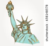 statue of liberty hand dawn on... | Shutterstock .eps vector #658148578