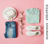 flat lay shot of girls spring... | Shutterstock . vector #658149316
