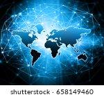 world map on a technological... | Shutterstock . vector #658149460