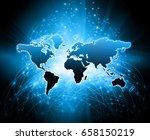 world map on a technological... | Shutterstock . vector #658150219