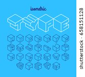isometric 3d outline font ... | Shutterstock .eps vector #658151128