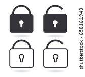 vector lock line icon and black ...