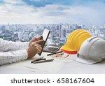 hand of business man touching... | Shutterstock . vector #658167604