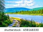 mountain valley river panoramic ...   Shutterstock . vector #658168330