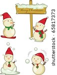 illustration of various snowmen ... | Shutterstock .eps vector #65817373