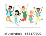 flat smiley teens jumping... | Shutterstock .eps vector #658177000