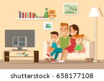 flat happy family watching tv... | Shutterstock .eps vector #658177108