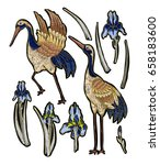 heron crane embroidery with... | Shutterstock .eps vector #658183600