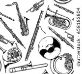 seamless pattern with woodwind... | Shutterstock .eps vector #658183804
