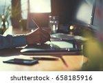 modern creative start up office ... | Shutterstock . vector #658185916