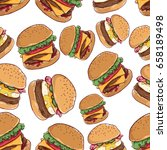 fast food seamless pattern with ... | Shutterstock .eps vector #658189498