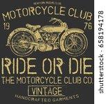 vintage motorcycle t shirt... | Shutterstock .eps vector #658194178