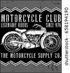 vintage motorcycle t shirt... | Shutterstock .eps vector #658194190