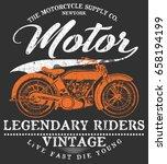 vintage motorcycle t shirt... | Shutterstock .eps vector #658194199