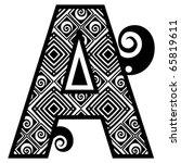 openwork alphabet  letter a | Shutterstock .eps vector #65819611