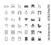 home furniture icons  included... | Shutterstock .eps vector #658196650