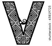 openwork alphabet  letter v   Shutterstock .eps vector #65819725