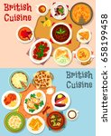 british cuisine popular dishes... | Shutterstock .eps vector #658199458