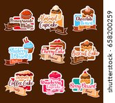 desserts and cakes stickers set ... | Shutterstock .eps vector #658200259