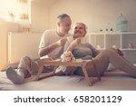 senior couple in bed. senior... | Shutterstock . vector #658201129