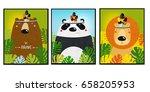 Posters with animals. Cartoon characters. Cartoon animals.  lion, bear, panda.