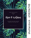 dark tropical wedding design... | Shutterstock .eps vector #658206748