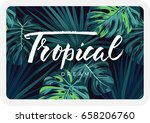 dark tropical card design with... | Shutterstock .eps vector #658206760