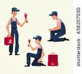 plumbing specialist at work ... | Shutterstock .eps vector #658207030