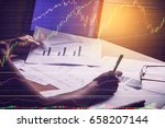 trading analysis of forex graph.... | Shutterstock . vector #658207144