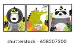 posters with animals. cartoon... | Shutterstock .eps vector #658207300