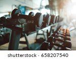 dumbbells in gym. close up many ... | Shutterstock . vector #658207540