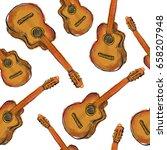 paint guitar seamless pattern | Shutterstock .eps vector #658207948